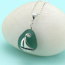 Teal Sea Glass Sailboat Pendant