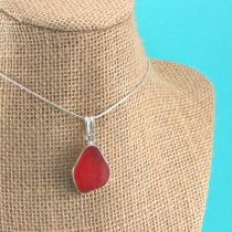 Bright Cherry Red Sea Glass Pendant