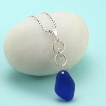 Cute Cobalt Blue Sea Glass Pendant