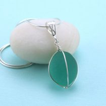 Antique Aqua Sea Glass Insulator Pendant