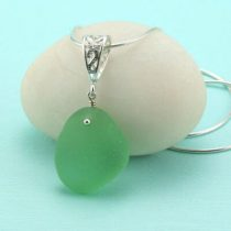 Pretty Peridot Green Sea Glass Pendant