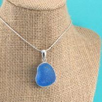 Frosty Electric Blue Sea Glass Pendant