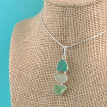 Triple Greens Sea Glass Pendant