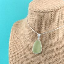 UV Green Yellow Sea Glass Pendant