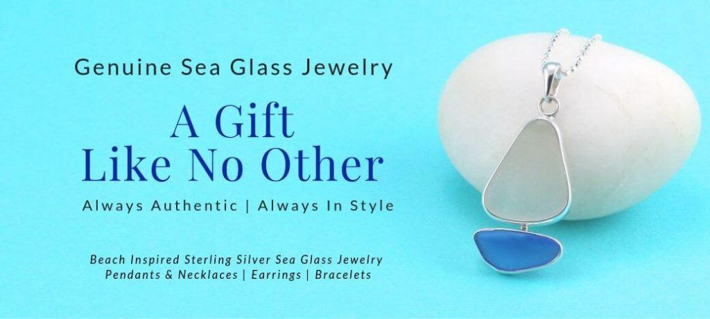 Light Blue & White Sea Glass Sailboat Pendant
