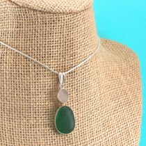 Lavender Teal Sea Glass Pendant