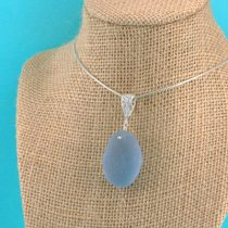 Cerulean Blue Sea Glass Pendant