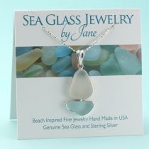 Awesome Aqua & White Sea Glass Sailboat Pendant