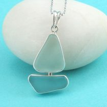 Awesome Aqua & White Sea Glass Sailboat Pendant