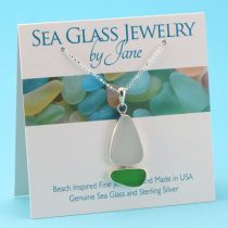 Green & White Sea Glass Sailboat Pendant