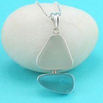 Amazing Aqua & White Sea Glass Sailboat Pendant