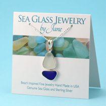 Deep Blue & White Sea Glass Sailboat Pendant