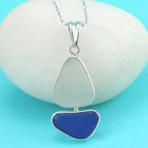 Deep Blue & White Sea Glass Sailboat