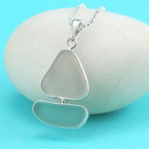 A+ Aqua & White Sea Glass Sailboat Pendant