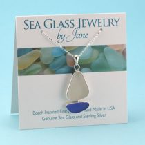 Light Blue & White Sea Glass Sailboat Pendant