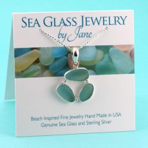 Aqua Teal Triple Sea Glass Pendant