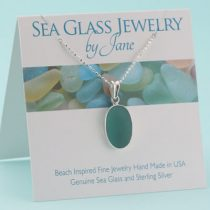 N621W Deep Aqua Teal Sea Glass Pendant