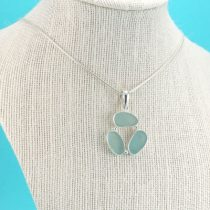 Amazing Aqua Triple Sea Glass Pendant
