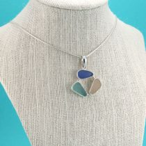 Cobalt Pink Aqua Triple Sea Glass Pendant