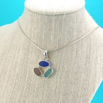 Cobalt Aqua Lavender Triple Sea Glass Pendant
