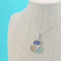 Pink Aqua Cobalt Sea Glass Pendant