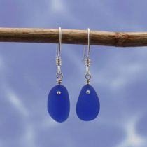 Dramatic Cobalt Blue Sea Glass Earrings