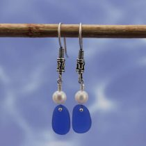 Classy Cobalt Blue Sea Glass Earrings with Pearls