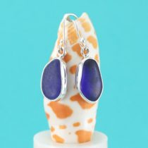 Cobalt Blue Teardrop Sea Glass Earrings