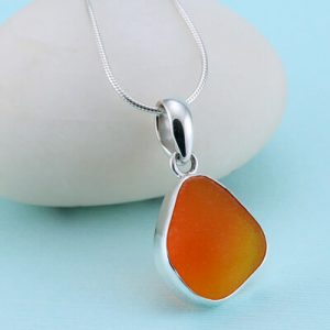 Ultra Rare Orange Sea Glass Pendant
