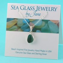 Teal & White Multi Sea Glass Pendant