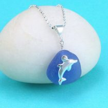 Cornflower Blue Sea Glass Pendant with Dolphin