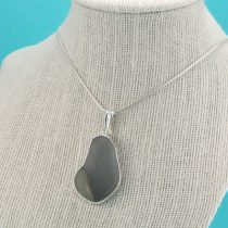 Giant Shades of Gray Sea Glass Pendant