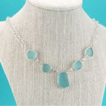 All Aqua Sea Glass Necklace