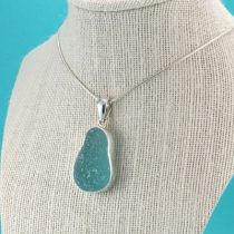 Giant Frosty Aqua Sea Glass Pendant