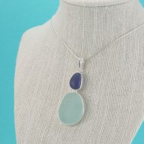 Cobalt & Sea Foam Double Sea Glass Pendant