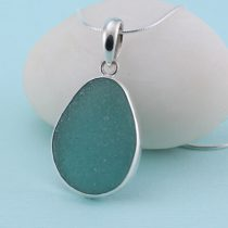 A Glorious Aqua Teal Sea Glass Pendant