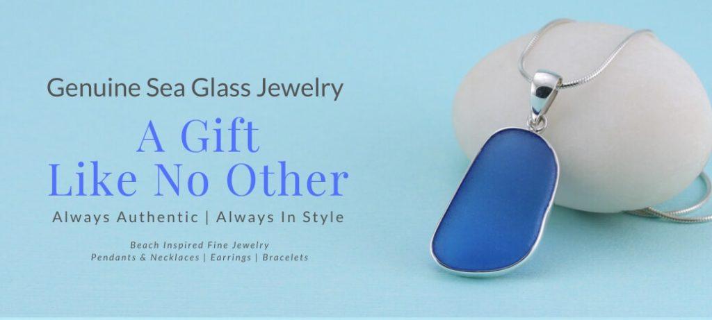 Sea Glass Jewelry by Jane Cornflower Blue Sea Glass Pendant
