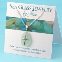 Sea Foam Green Sea Glass Gem with Cross Charm