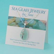 Sweet Sea Foam Sea Glass Pendant with Cross