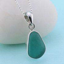Pretty Teal Sea Glass Pendant