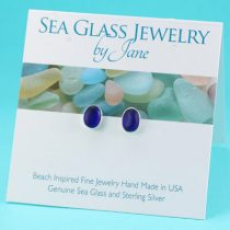E547W Cobalt Sea Glass Stud Earrings