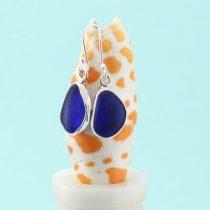 E552 W Perfect Shape Cobalt Blue Sea Glass Earrings