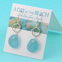Deep-Aqua-Sea-Glass-Earrings-with-Accent