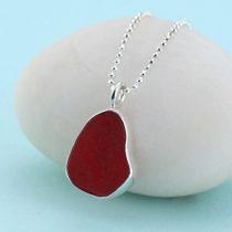 Cute Cherry Red Sea Glass Pendant