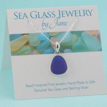 Teardrop Shape Cobalt Blue Sea Glass Pendant