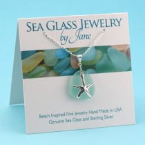 Perfect Aqua Sea Glass Starfish Pendant
