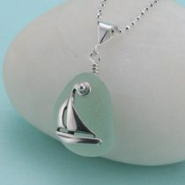 Sea Foam Sea Glass Sailboat Pendant