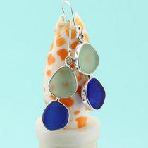 Blue & Sea Foam Sea Glass Earrings