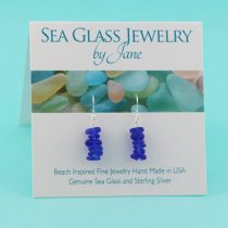 Cobalt Blue Sea Glass Stack Earrings