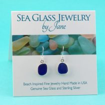 Chic Cobalt Blue Sea Glass Earrings